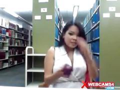 Girl masturbating webcam at library