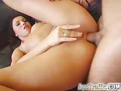 Sensual babe enjoys a rough anal pounding