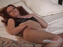 Hairy pussy wife fingers wet pussy with black panties on at motel