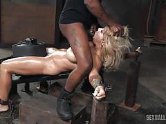 Bdsm loving guys raiding a curvy blonde lady