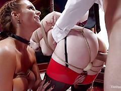 milf, blonde, threesome, anal, bdsm, big ass, big boobs, from behind, rope bondage, the upper floor, kink, phoenix marie, mr. pete, ella nova