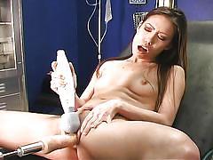 Blonde doctor having fun with her brunette patient