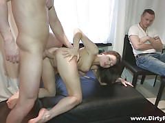 Tight bodied brunette girlfriend tricked to fuck another guy