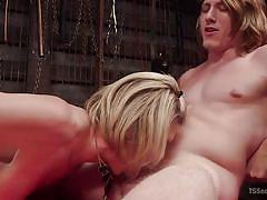 Big tit blonde shemale having a threesome