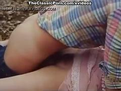 Desiree cousteau, joey silvera in classic porn scene with threesome in the fores