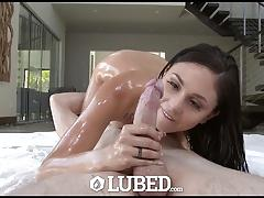 Oiled ariana marie bounces on this hard cock