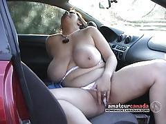 brunette, big tits, masturbation, outdoors, bbw
