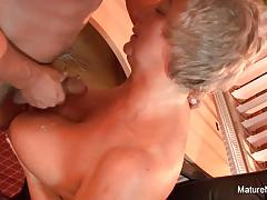 Mature amateur plays with this hard cock