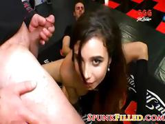 Wild german nympho gets cum-shot bukkake gangbang