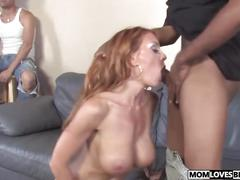 Janet mason takes two black cocks in front of her son