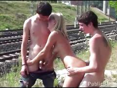 Hot blonde teen girl fucked in public by a railway by 2 young guys in hot sex