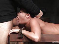 Curvy brunette chick gets banged in the dungeon