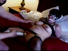 Short girl being tied up and forced