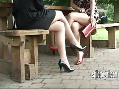 brunette, feet, blonde, british, stockings, nylon, legs, tease, fetish, shoes, high heels, foot fetish, babes