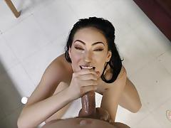 Brunette aria alexander drenched with thick cum