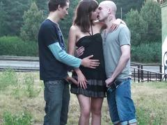 Outrageous public sex gangbang threesome with a pretty girl