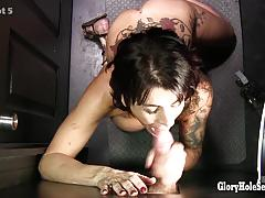 Mature woman gets cock at glory hole