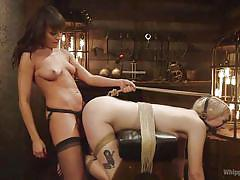 Sexy domina whips and fucks her blonde sex slave