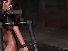 Brunette whore getting face fucked in bdsm