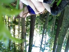 Young amateur brunette wife outdoors