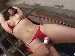 Dominated asian gets her pussy vibed