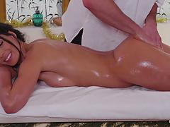 Oily sexy massage and sensual christmas fuck