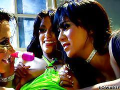 threesome, lesbians, latina, fishnet, vibrator, pussy licking, babes, brunette, fingering cunt, low art films, fame digital, lyla storm, kami kai, jayden james