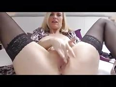 Stunning mature in stockings and heels masturbates