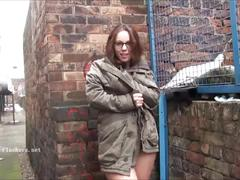 Sexy amateur flasher beaus outdoor striptease and voyeur exhibitionism of winter