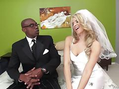Bbc blowing blonde anikka albrite in her wedding dress