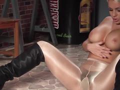 Shiny pantyhose high black boots