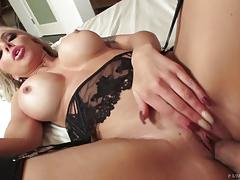 Cum guzzling nina elle takes it deep in her minge hole