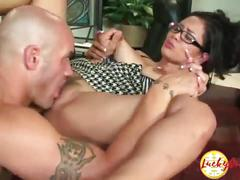 Gorgeous interracial big titted asian milf secretary fucked hard on the desk