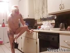 Skinny small tits milf paid extra to work nude