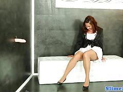 masturbation, stockings, heels, solo, redhead, euro, fetish, bukkake, gloryhole