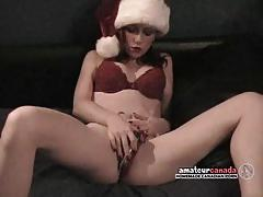 Mrs clause rubs her wet pussy