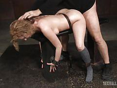 Curly brunette lady getting severly punished