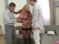 Busty british maid milks the cum out of 2 monster cocks