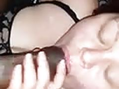 My wife fucked her bbc byheself took his cum in the mouth