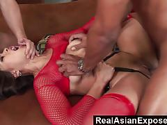 Randy asian double penetrated in threesome