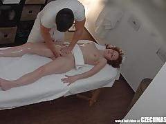 Hot babe enjoys massage
