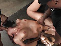 Brunette babe getting punished by two meaty cocks