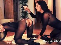 Hotties in body stockings pee play