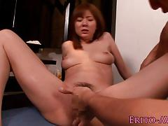 Squirting japanese model banged balls deep