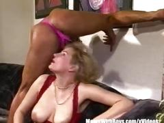 Blonde mature sexy stockings fucks a man in sexy thong