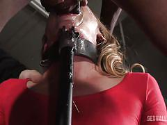 Blonde babe getting throat fucked in bdsm