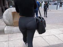 Tasty ass in leggings with thong