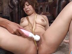 asian, fingering, dildo, vibrator, mom, shaved pussy, sex toys, pink pussy, cum on face