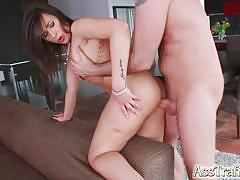 Brunette bent over and fucked in the ass