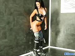 Sensual babe plastered with thick cum